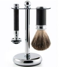Бритвенный набор Edwin Jagger 3pc Black Chrome 3D Diamond Set (DE)