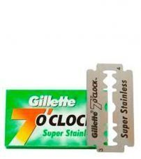 Сменные лезвия для бритвы Gillette 7 O'Clock Super Stainless Double Edge Razor Blade -5шт.
