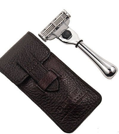 Дорожный станок для бритья PARKER MACH 3 TRAVEL RAZOR WITH LEATHER CASE